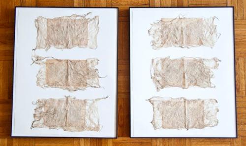 """Jaz Graf, 2013, She's an Open Book, handmade thai kozo, aged book pages, each 16""""x20"""""""