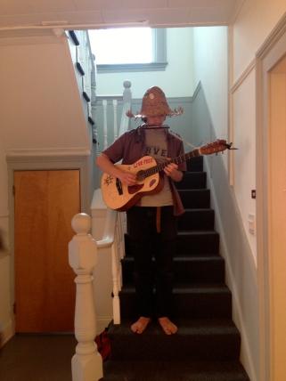 Barefoot Harmonica-Guitar musician at Carroll House opening