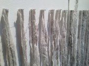 Eviscera II, detail, paper litho on stitched muslin