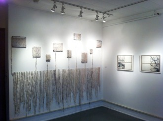 (left) Eviscera II, Paper litho on stitched muslin over sketchbooks, (right) Root and Branch, paper litho and letterpress