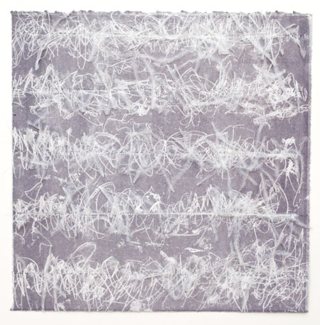 """Traces of Absence (violet), 2014, Trace Monotype with stitching and faux feather plumes, Variable Edition, 12""""x12"""""""