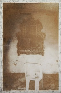 """From the Offerings Series (chair) 2015, Photogravure, Etching, Spitbite, 6.5""""x4.5"""" by Jaz Graf"""